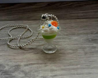 Long necklace cut chantilly pistachio ice / Fimo polymer candy treats