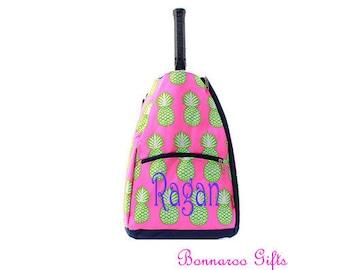 Pineapple Tennis Racket backpack-tennis bag-tennis racket bag-personalized tennis racket backpack