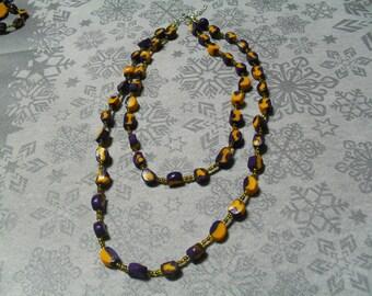 beautiful necklace, original, stylish purple and yellow