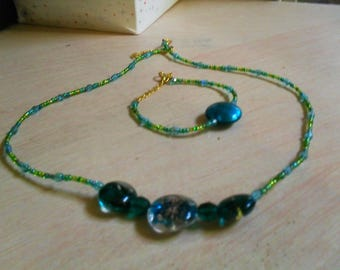 set (necklace and bracelet), colorful, original (green, blue)