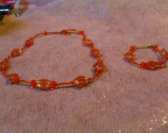 """orange set """"fish"""" beautiful (necklace and bracelet)"""