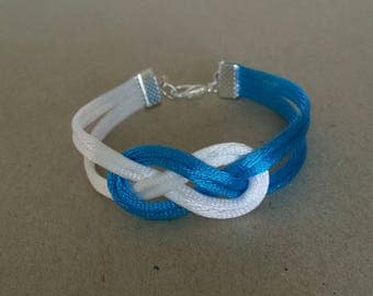 Satin and Chinese knots bracelet turquoise blue and white