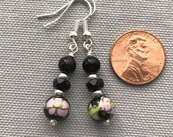 Black Czech Glass and Ceramic Bead Earrings