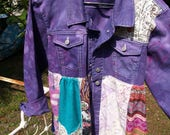 Abstract art wear bohemian hippy fly your colors - Purple! OOAK Fantasy clothing refashioned up cycled outerwear