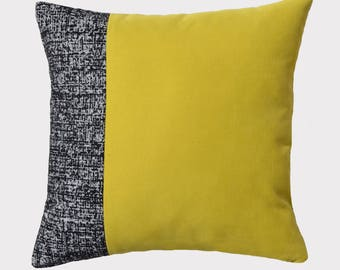 Decorative pillow, removable 45cm x 45xm Black Heather and Lime yellow color