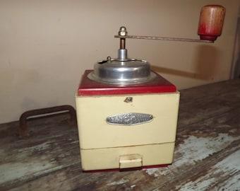 Vintage wooden coffee grinder,Red,Decor,Kitchen,Cream,Coffee,Rustic
