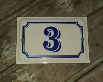 A French vintage House Sign Number 3 in Cream and Blue,Decor,Outdoor,Gift,Sign,French, enamelware,French Enamelware,Outdoor Decor