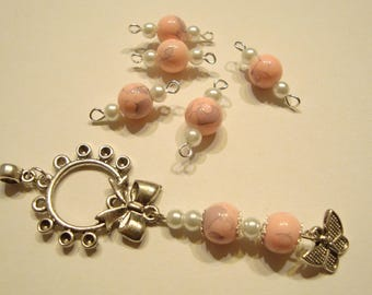 Marbled pink glass bead pendant and charm set
