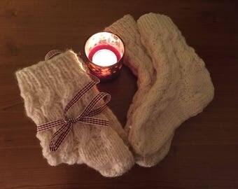 Cream socks sizes unisex all soft and warm
