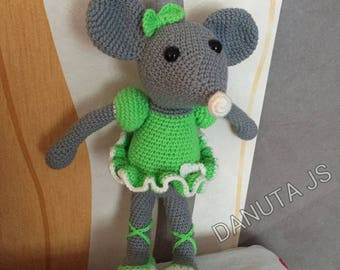 Toy plush mouse handmade acrylic wool and cotton crochet