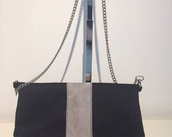 Applied band and black REVERSO shoulder bag gray