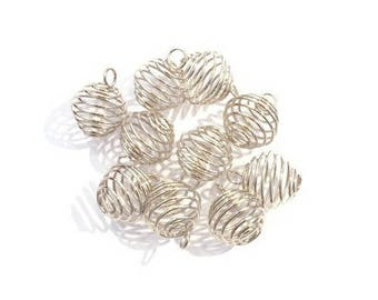 Bird cage bead with 8 x 9 ring - silver plated (10 pieces)