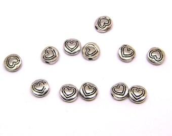 50 beads 6mm x 2mm silver heart