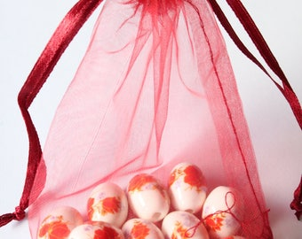 set of 5 organza bags, red bordeaux, 9 * 12 mm
