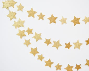 star garland, gold star garland, wedding garland, paper garland, star banner, twinkle little star, star bunting, gold wedding decor