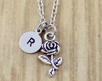 Initial Rose Necklace   Silver Rose Charm Necklace   Personalized Valentine's Day Gift   Rose Petal   Coram Creations 631 454 PM   NSS