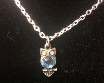 Aquamarine owl pendant