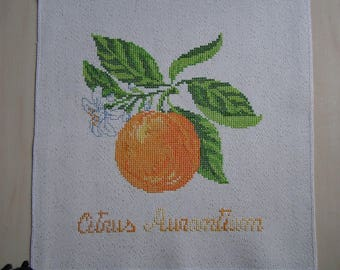 Orange embroidery and flower