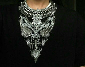 Long Silver Custom Dylanex Chunky Statement Necklace Chunky Punk Rock Chains Clear Crystals Tassels Spikes Layered Gothic Tribal Festival