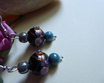 Gray Pearl and blue and black Venetian bead earrings