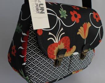 satchel Briefcase black rococo style fabric