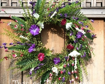 Spring wreath, wildflower wreath, every day wreath, summer wreath, front door wreath