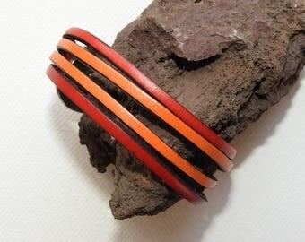Bracelet 4 leather cords magnetic bordeaux/orange