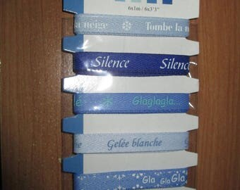 set of 6 x 1 meter of Ribbon blue cold winter