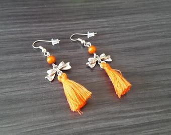 Earrings tassel Orange bow