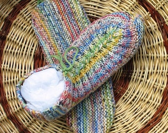 Slippers woman and girl, knitted, multicolored, one size, birthday gift, leather cord.