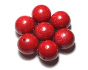 14pc - resin plastic balls glittery cherry red 20mm round beads - 8741140021877