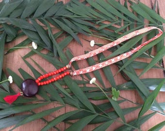 Floral Ribbon necklace, Crystal and seed