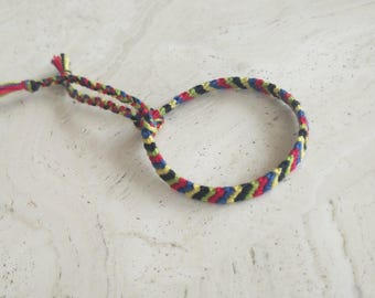 Striped friendship macrame handmade bracelet/anklet/wristband, made to order, red orange yellow blue green purple