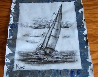 Drawing on canvas in charcoal of a sailboat