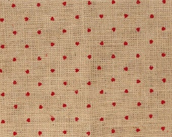 Burlap flocked red hearts - coupon 30 x 90 cm - Ref 13020113