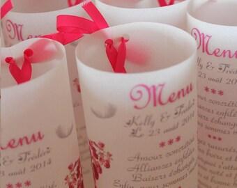 personalized wedding or baptism candle menu