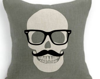 Grey Skull Moustache and Sunglasses Cushion cover