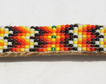 Vintage Navajo Leather Beaded Barrette