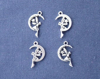 4 silver fairy sitting on Moon charms