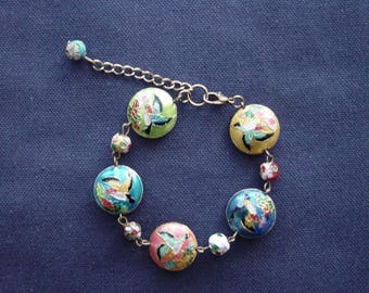 Birds of paradise cloisonne Beads Bracelet