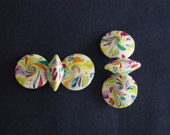 """6 """"saucers"""" in Fimo and non-pierced"""