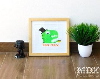 Tea Rex - framed cross stitch