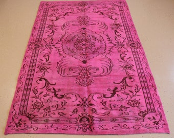 """Vintage Overdyed Turkish Rug, Handmade, Pink, 5 feet 6 inches by 8 feet 7 inches (5'6""""x8'7"""")"""