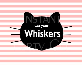 Whiskers sign | Cat Whiskers sign | Cat party sign | Cat birthday signs | kitten birthday sign