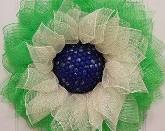 Flower wreath, green and beige wreath, summer wreath, door decor, door wreath, wall decor, home decor, deco mesh wreath, wreath