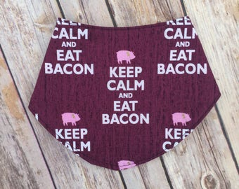 Keep Calm and Eat Bacon Bandana Bib - Farm Animal Bandana Bib - Eat Bacon Bibdana - Pig Bibdana - Reversible Bib - by Note Any Treble