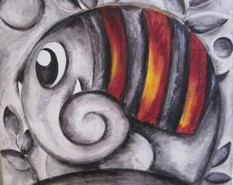 "Original acrylic painting: ""An elephant in grey."""