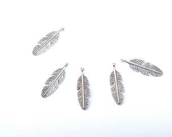 set of 5 charms silver metal pen