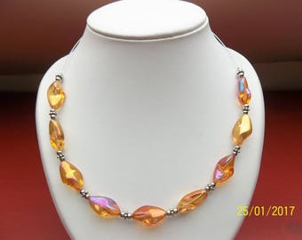 Orange and silver necklace in fantasy beads