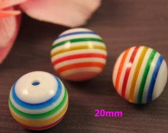 Pearl acrylic 20mm striped multicolor creating jewelry mod1